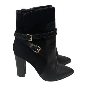 Vero Cuoio Black Leather and Suede Boots Size 9.5